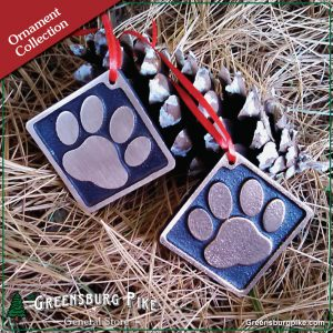 Dog pawprint ornament w/red velvet bag - brushed satin or natural rubbed finish - cast bronze - made in USA