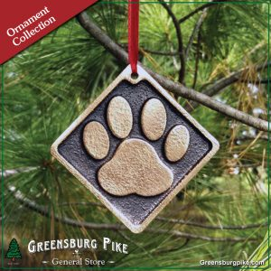 Dog pawprint ornament w/red velvet bag - natural rubbed finish - cast bronze - made in USA